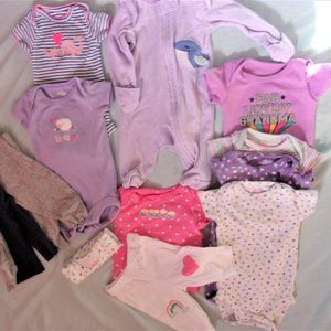 Baby girl clothing lot bundle 0-3 months pajamas +